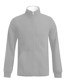 Мужская однотонная флисовая кофта цвета светло серый  на молнии, размер XS