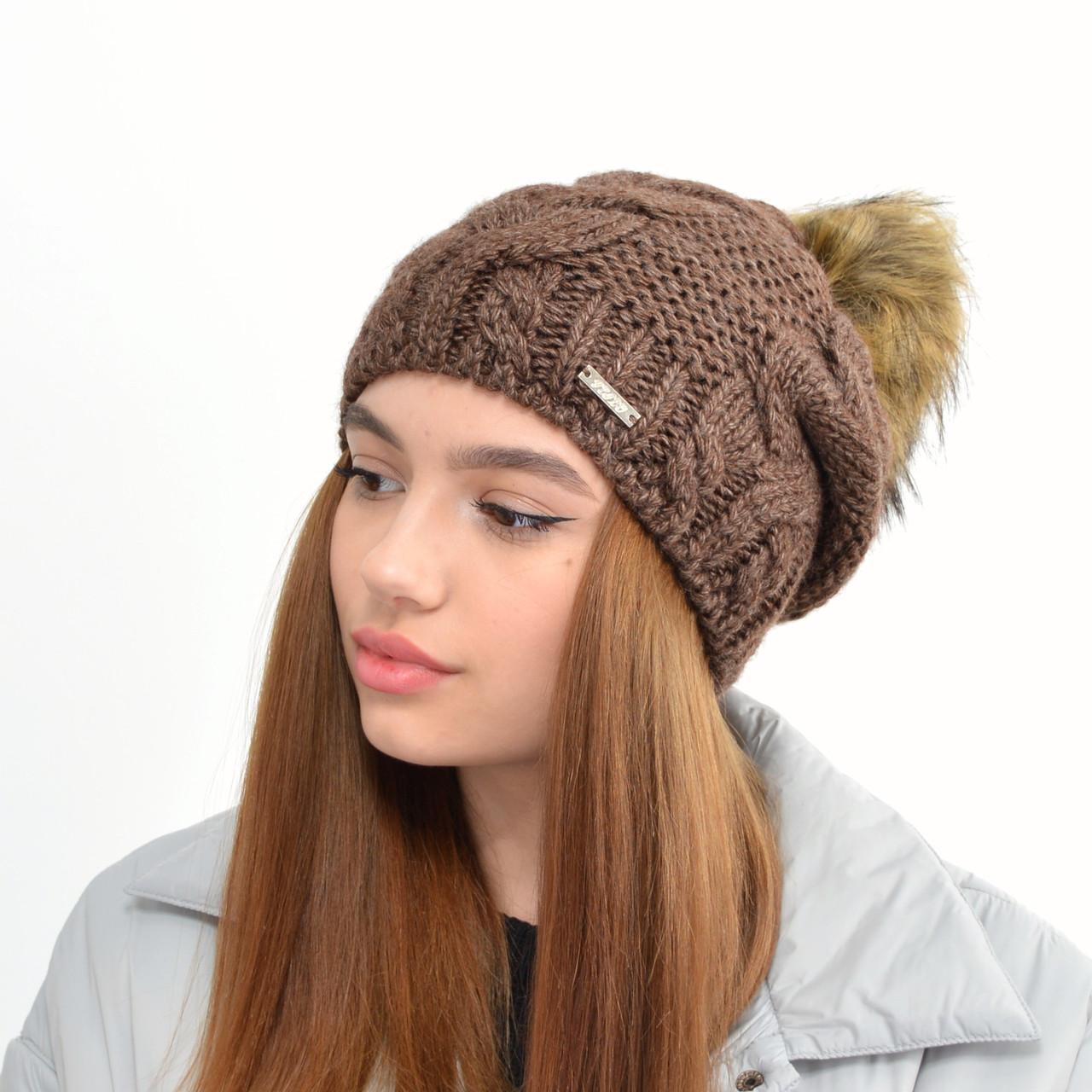 Женская шапка на флисе 3330 коричневый