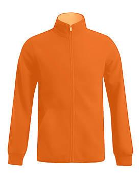 Мужская однотонная флисовая кофта цвета  оранжевый на молнии, размер XS