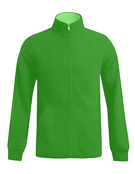 Мужская однотонная флисовая кофта цвета зеленый на молнии, размер XS