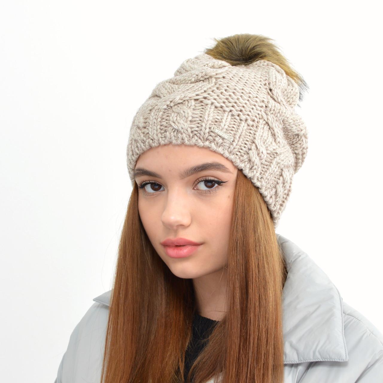 Женская шапка на флисе 3330 лен