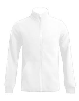 Мужская однотонная флисовая кофта цвета белый на молнии, размер XS