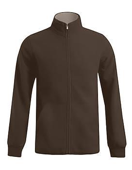 Мужская однотонная флисовая кофта цвета коричневый на молнии, размер XS