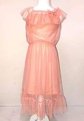 Комплект для девочки (туника тонкая бретель+ платье-сетка), Breeze (размер 128)