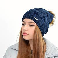 Женская шапка на флисе 3330 синий
