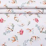 """Клапоть тканини """"Бавовна і коралові квіточки"""" на білому фоні (№3141), розмір 26*120 см, фото 2"""