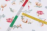 """Клапоть тканини """"Бавовна і коралові квіточки"""" на білому фоні (№3141), розмір 26*120 см, фото 3"""