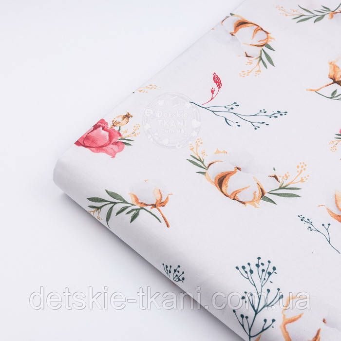 """Клапоть тканини """"Бавовна і коралові квіточки"""" на білому фоні (№3141), розмір 26*120 см"""