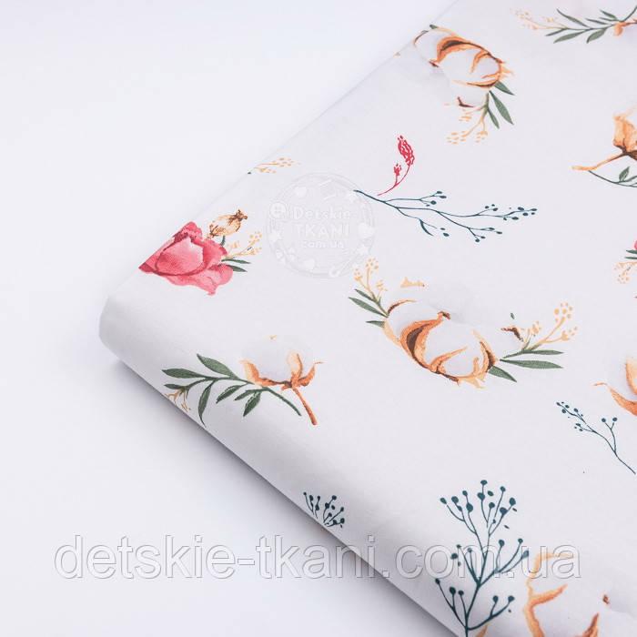 """Лоскут ткани """"Хлопок и коралловые цветочки"""" на белом фоне (№3141), размер 26*120 см"""