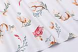 """Клапоть тканини """"Бавовна і коралові квіточки"""" на білому фоні (№3141), розмір 26*120 см, фото 5"""
