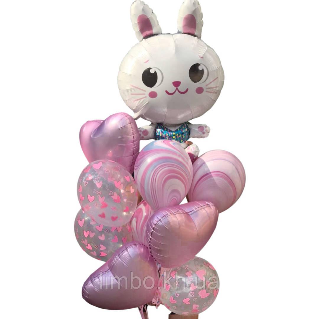 Набор шаров на день рождения для девочки с фольгированной фигуркой Зайка