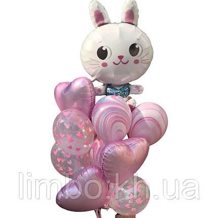 Набор шаров на день рождения для девочки с фольгированной фигуркой Зайка, фото 2