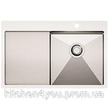 Кухонна мийка з нержавіючої сталі 780x500 мм. AquaSanita LUN101N-R права