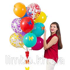 Набор шаров на день рождения с бумажными бабочками