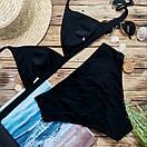 Купальник жіночий роздільний з високою талією чорний, фото 2
