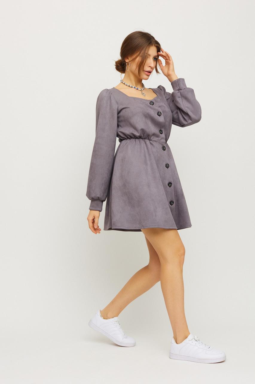 Короткое серое замшевое платье с пышными рукавами
