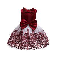 """Шикарное платье на 1 годик """"Элеонора"""" красное с белым"""