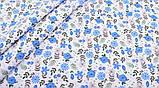 Синій набір лоскутов сатину для рукоділля з квітковим малюнком - 8 відрізів 40*50 см, фото 6