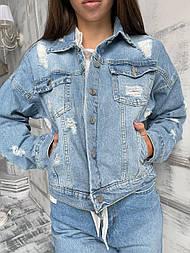Куртка джинсова блакитна потертості жіноча