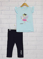 Комплект летний  для  девочки: футболка с коротким рукавом + велотреки,  Breeze. (размер 4(104))