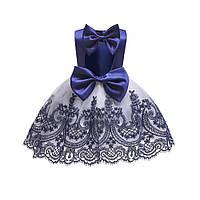 """Шикарное платье на 1 годик """"Элеонора"""" синее с белым"""