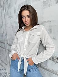 Рубашка женская белая льняная базовая с завязкой (рукав поворачивается)