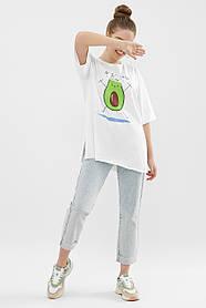 Белая хлопковая футболка с авокадо оверсайз удлиненная S M L