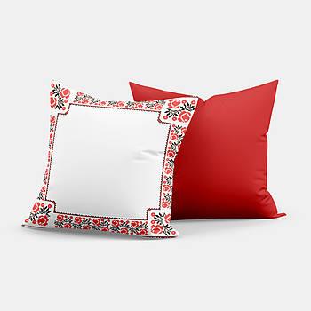 """Подушка """"Українська традиція"""" SD015, орнамент  квадрат 35х35 білий/червоний"""