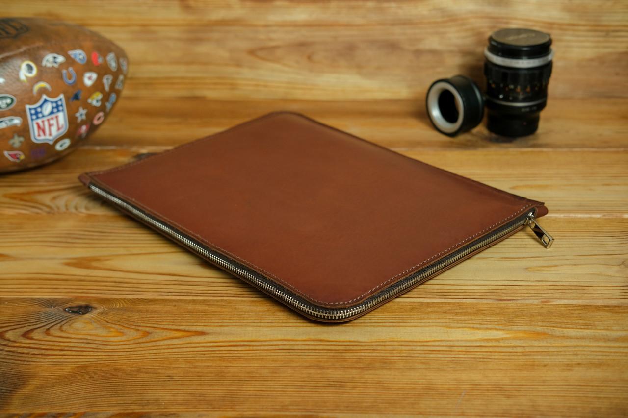 Шкіряний чохол для MacBook з повстяною підкладкою, на блискавці, Шкіра Італійський краст, колір Коричневий