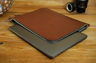 Шкіряний чохол для MacBook з повстяною підкладкою, на блискавці, Шкіра Італійський краст, колір Коричневий, фото 2