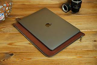 Кожаный чехол для MacBook на молнии, с войлочной подкладкой, Кожа Итальянский краст, цвет Коричневый, фото 3