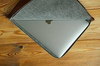 Шкіряний чохол для MacBook з повстяною підкладкою, на блискавці, Шкіра Італійський краст, колір Коричневий, фото 3