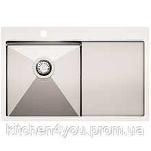 Кухонна мийка з нержавіючої сталі 780x500 мм. AquaSanita LUN101N-L ліва
