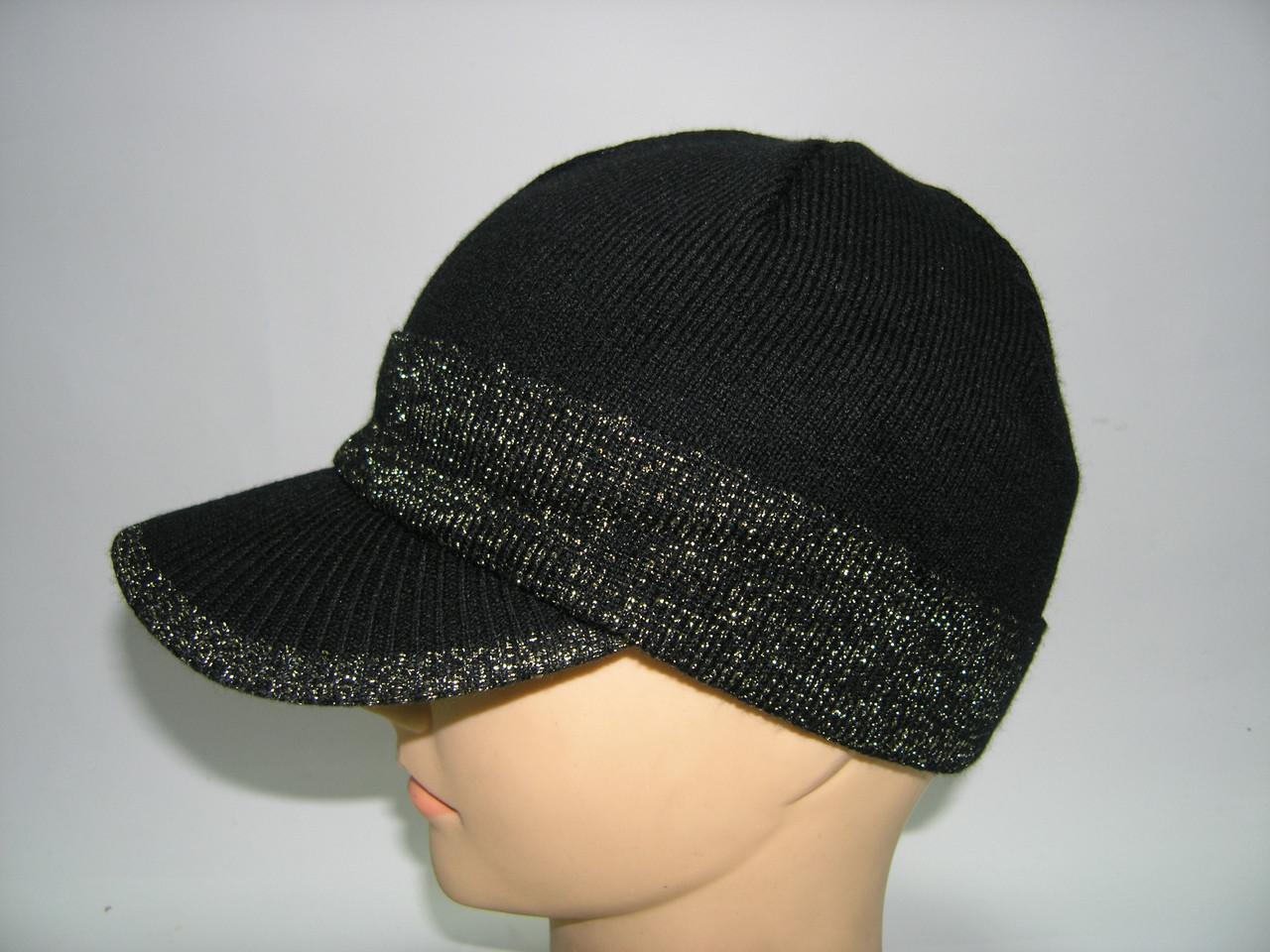 Вязаная кепка бейсболка женская, фото 1
