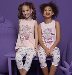 Пижама детская для девочки (майка на широкой бретели+капри), Donella (размер 2/3)