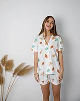 Женская пижама с рубашкой из сатина Папайя