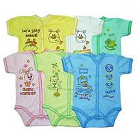 Боди для новорожденных, с коротким рукавом, на кнопках (интерлок)