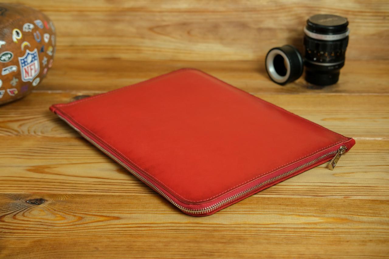 Кожаный чехол для MacBook на молнии, с войлочной подкладкой, Кожа Итальянский краст, цвет Красный