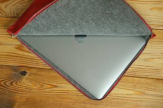 Кожаный чехол для MacBook на молнии, с войлочной подкладкой, Кожа Итальянский краст, цвет Красный, фото 3