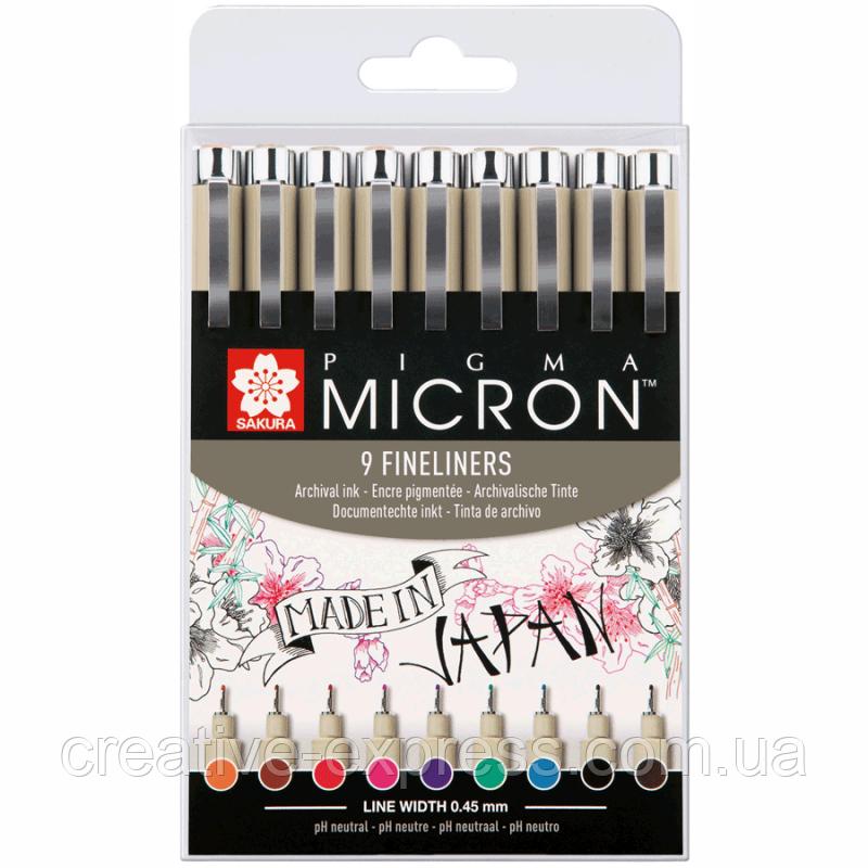 Набір лінерів PIGMA Micron 9шт., різнокольорові, Sakura