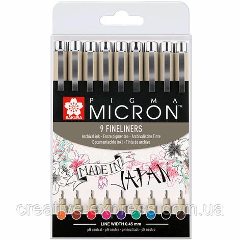 Набір лінерів PIGMA Micron 9шт., різнокольорові, Sakura, фото 2