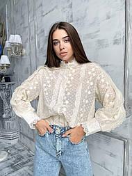 Блуза гипюровая женская айвори и белый