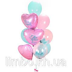 Шары на день рождения в розово мятном цвете с шарами браш
