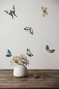 Виниловая декоративная наклейка Коричнево-бирюзовые бабочки
