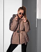 Удлиненная демисезонная куртка с поясом  42, 44, 46, 48