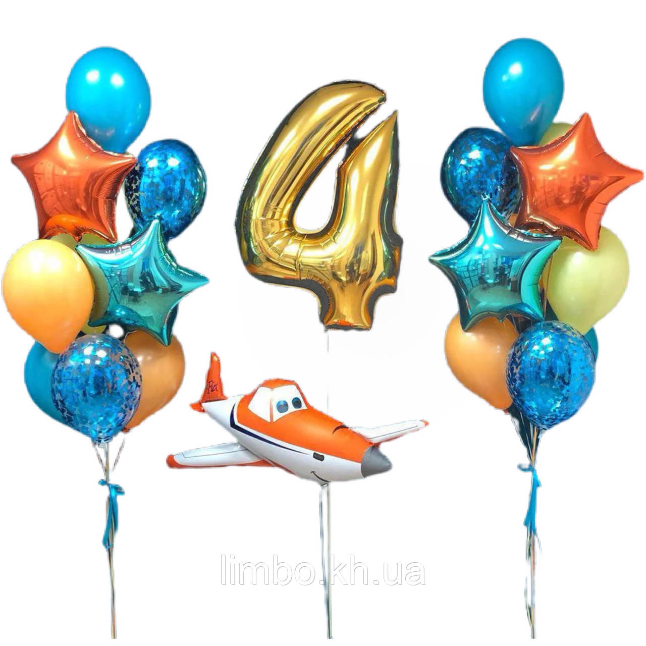Кульки з гелієм на день народження, кулька цифра 4 і фольгована фігура літак
