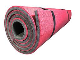 Каремат туристический 12 мм двухслойный универсальный для похода и туризма 1800х600 мм, Red/Gray