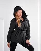 Черная модная куртка с капюшоном 42, 44, 46, 48