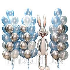 Оформление шарами на день рождения и ходячая фигура  Багз Банни