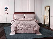 Постельное белье сатин Deluxe Bella Villa с вышивкой пудровый